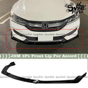 FITS 2016-2017 HONDA ACCORD GLOSSY BLACK JDM STYLE 3PC FRONT BUMPER LIP SPLITTER