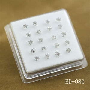 20 Pcs 925 Solid Silver Clear Crystal Flower Straight Bar Rod Pin Nose Stud Top