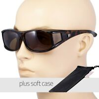 POLARIZED cover put over Sunglasses wear Rx glass fit driving LARGE Tortoi POUCH