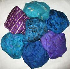 LOT PURE SILK Vintage Sari REMNANT Fabric 7 Pcs 1 ft CRAFT QUILT FELTING JOURNAL