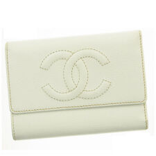 Chanel Wallet Purse Trifold COCO White Woman Authentic Used R107