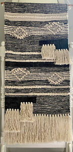Woven Yarn Wall Hanging Tapestry Black and White with Fringe Cotton Wall Art