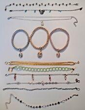 "Bracelets 9"" long. bead, chain, pink stone. + metal stretch with rhinestone owl"