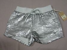 TRUE RELIGION WOMENS SEQUIN RUNNER SHORT PALE AGAVE SILVER SHORTS SIZE SMALL NEW