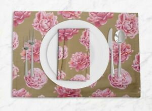 S4Sassy Carnation Floral Printed Dining Room Tablemats With Napkins set-FL-852E