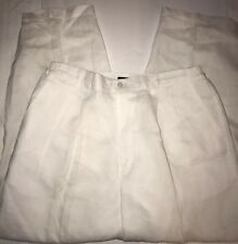 Godbody Collection Linen Pleated Pants Sz L Elastic Waist Off Lined White