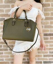 Michael Kors Ciara Large Top Zip Satchel Saffiano Duffle Green Leather Crossbody