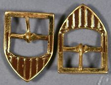 PAIR BROWN & GOLD 20'S ART DECO ANTIQUE VINTAGE ENAMEL METAL SAMPLE BUCKLES 1""