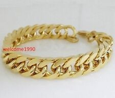 Bracelet Fashion Men Jewelry 10mm 8.66'' Gold Stainless Steel Cool Curb Chain