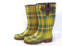 Chooka Signature Womens Marina Plaid Rain Boots Mid Calf Sz 7 Green Yellow PC8