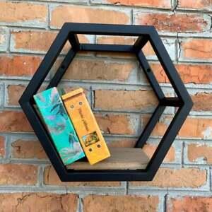 Honeycomb Wall Bookshelf / Planter Octagon Shelf Metal Loft Style Decor Black
