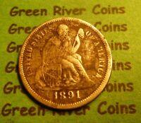 1891 O  Seated Liberty Dime   #SD91O       (1837 to 1891)