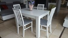 SET of extending dining table and 4 solid wood chairs white, modern!! 120cm