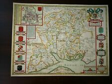 JOHN SPEED HAND COLOURED OLD MAP OF HANTSHIRE/HAMPSHIRE/,PUBL.1676