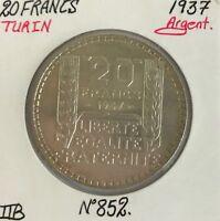 20 FRANCS TURIN - 1937 - Pièce de Monnaie en Argent // TTB