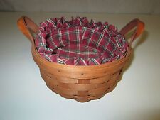 1991 Longaberger Basket with Plaid Fabric Liner and Handles