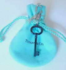 "Tiffany & Co Black Titanium Oval Key Charm Pendant 19"" Silver Chain Necklace"