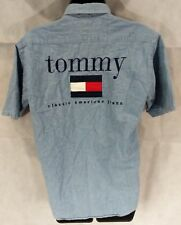 Vintage Tommy Hilfiger Jeans Womens Big Logo Spell Out Button Shirt Large Denim