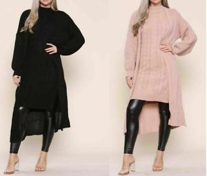 Ladies Womens Knitted Long Maxi High Neck Dress Ball Cardigan 2 Pcs Co Ord Set