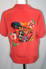 Vintage Retro unisex coral silk tropical shirt by Ca. sport magic L
