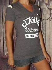 EUC NIKE Small  Clarion University Golden Eagles college gray t shirt  V neck