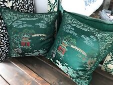 Pair of green chinese cushions