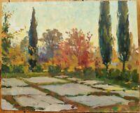 Russian Ukrainian Soviet Oil Painting impressionism landscape grounds poplar