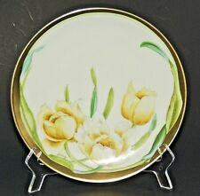 PT Tirschenreuth Bavaria Hand Painted Floral Tulips Plate Gold SIGNED 1927-1947