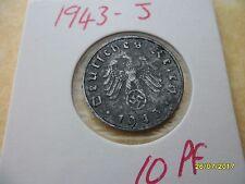 German 10 Reichspfennig 1943-J Very Rare Zinc Third Reich Coin WW2 pf pfennig