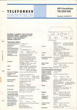 TELEFUNKEN - Verstärker TA 350 - Service Information Schaltplan Diagrams - B6585