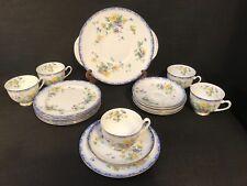"""Vintage Royal Doulton """"Leonie"""" Blue Yellow Floral Part Tea Set H4451"""