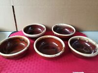 McCoy Pottery 5pc BROWN DRIP Glaze Soup Cereal Bowl  USA 5 1/4""