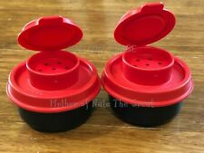 TUPPERWARE SMIDGET Salt and Pepper Shakers Spice Mini Travel Chili RED Smidgets