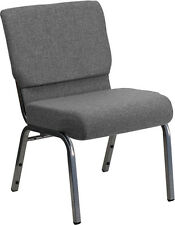 LOT OF 100 21'' EXTRA WIDE GRAY STACKING CHURCH CHAIR - SILVER VEIN FRAME
