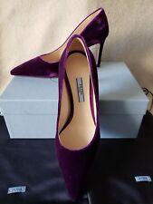 NIB Auth Prada 38 8 Classic Pointy Toe Pump Heels Purple Velvet 80mm Shoes