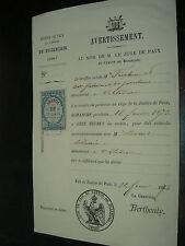 Cachet lettre 1873  Timbre Dimension Second Empire  Buzancais  50 c philatelie