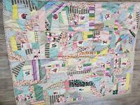 "Vintage Cotton Patchwork Quilt Worn Sombrero Mexican Donkey Pig Cactus 67"" x 82"""