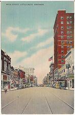 Scene on Main Street in Little Rock AR Postcard