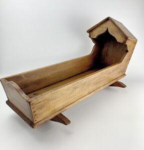 "ANTIQUE PRIMITIVE HOODED DOLLS CRADLE Wooden 22""x12""x9"""
