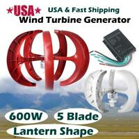 600W 24V Lanterns Wind Turbine Generator Vertical Axis 5 Blads HighPower USstock