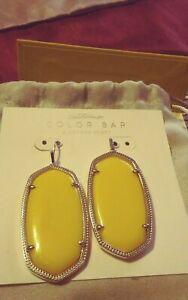 New Kendra Scott Danielle Statement Earrings in banana yellow/ Silver