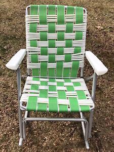 VNTG Duralite Aluminum Webbed & Vinyl Tube Folding ROCKING Lawn Chair Mid Cent