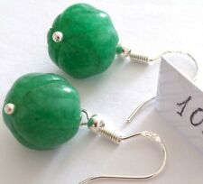 Lovely Pair of 925 Silver Natural Green Emerald Earrings, (A10)