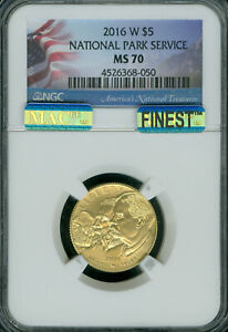 2016-W NATIONAL PARKS $5 GOLD NGC MS-70 MAC FINEST REGISTRY MAC SPOTLESS *