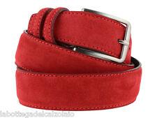 Cintura in pelle uomo camoscio classica rossa artigianale made in Italy