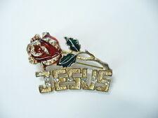 Vintage Estate Pin Brooch Rhinestone Crystal Jesus Rose  USA Seller