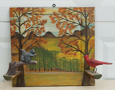 3D FOLK ART PAINTING with SCULPTURED SQUIRREL AND CARDINAL BIRD ON A BRANCH