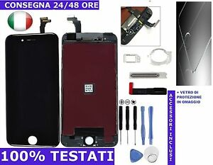VETRO SCHERMO DISPLAY LCD + TOUCH SCREEN NERO PER APPLE IPHONE 6 QUALITA AAA+