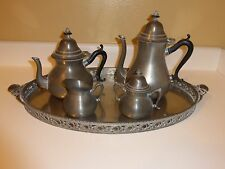 Vintage Royal Holland Five Piece Pewter COFFEE SET & Platter Made in Holland