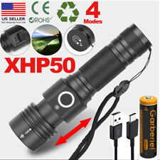 990000Lumens Flashlight Zoomable XHP50 4 Modes LED USB Rechargeable Torch Light
